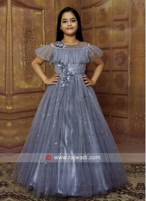Girls Designer Gown in Grey