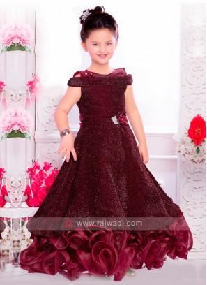 Girls Designer Net Gown In Wine