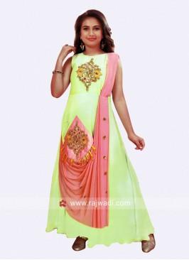 Girls Designer Satin Silk Anarkali Gown