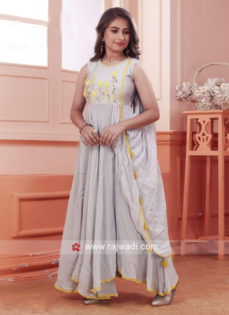 Girls Designer Satin Silk Gown