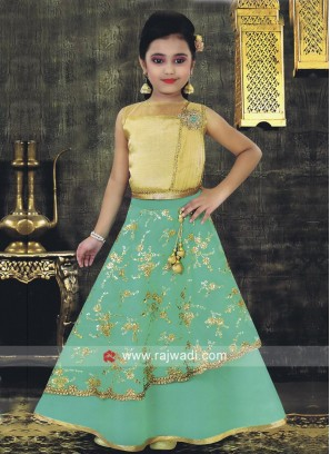 Girls Embroidered Choli Suit with Attached Dupatta