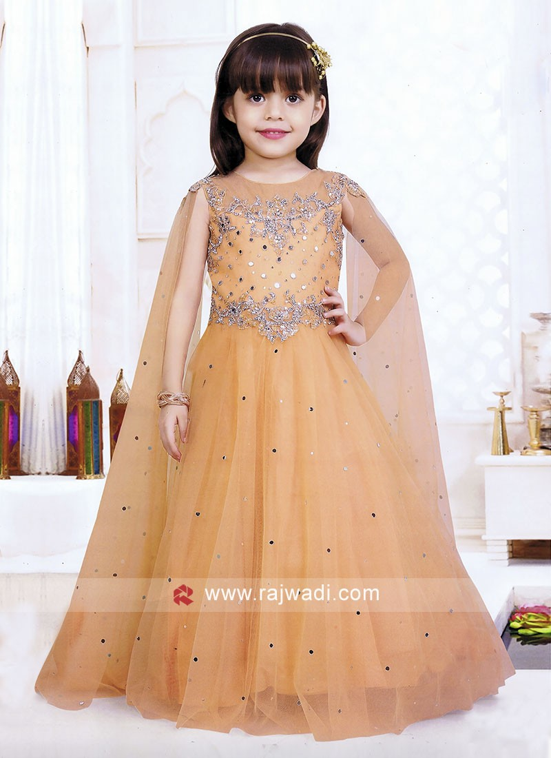 Girls Embroidered Gown with Long Slit Sleeves