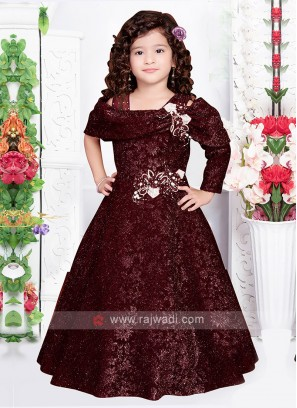 Girls Fancy Gown In Wine