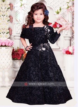 Girls Fancy Navy Blue Gown