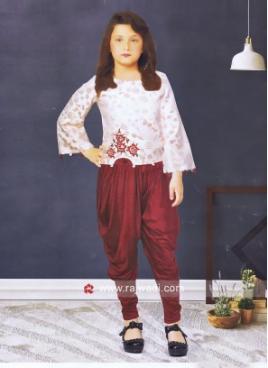 Girls Flower Print Crop Top with Dhoti Bottom