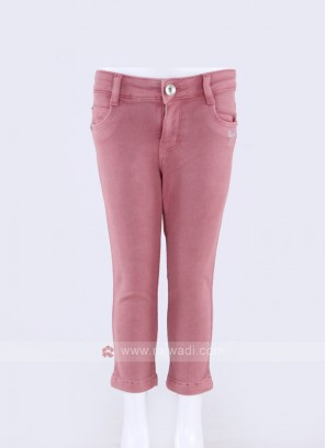 Girls Gajari Pink Solid Denim Capris