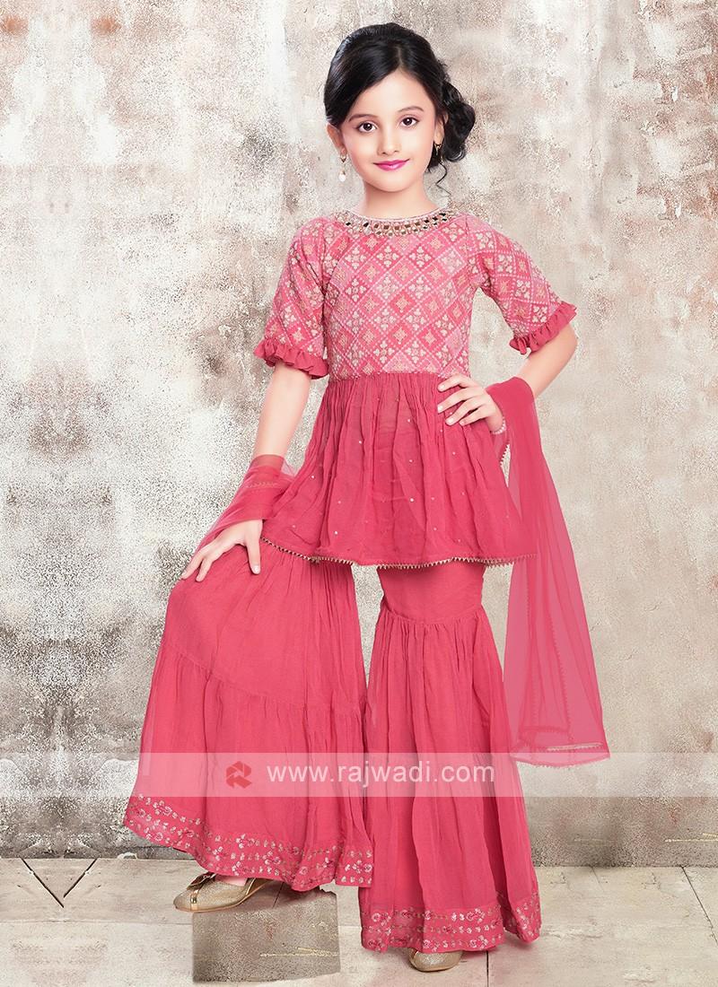 Girls Gharara Suit In Peach Color