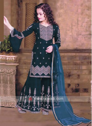Girls Gharara Suit In Rama Blue