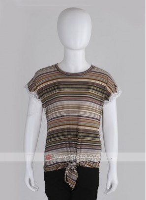 Girls Green & Multi coloured Striped Top