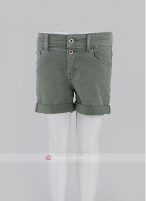 Girls Green Solid Regular Fit Denim Shorts