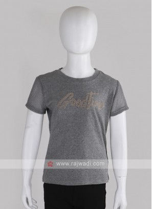 Girls Grey Printed Round Neck T-shirt