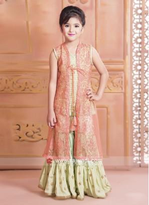 Girls Jacket Style Gharara Suit