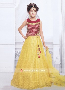 Girls Lehenga Choli with Ruffle Dupatta