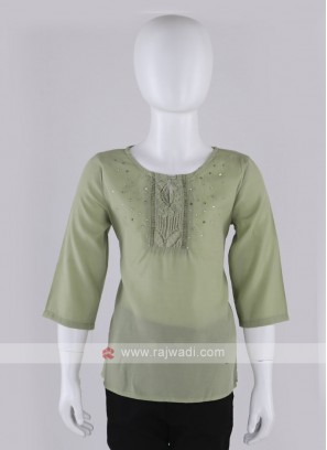 Girls Light Pista Green Kurti Style Top