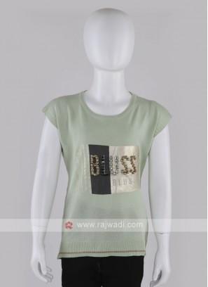 Girls Light Pista Green printed T-shirt