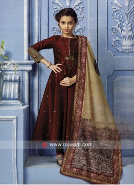 Girls Maroon Anarkali Suit with Dupatta
