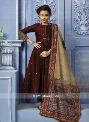 Girls Maroon Anarkali Suit with Dupatta
