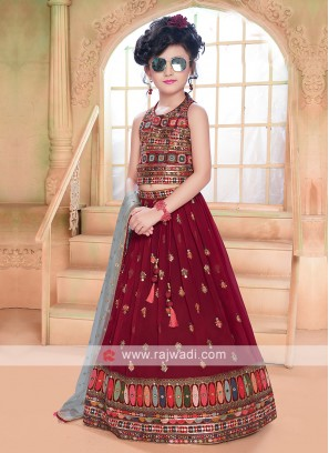Girls Maroon Choli Suit