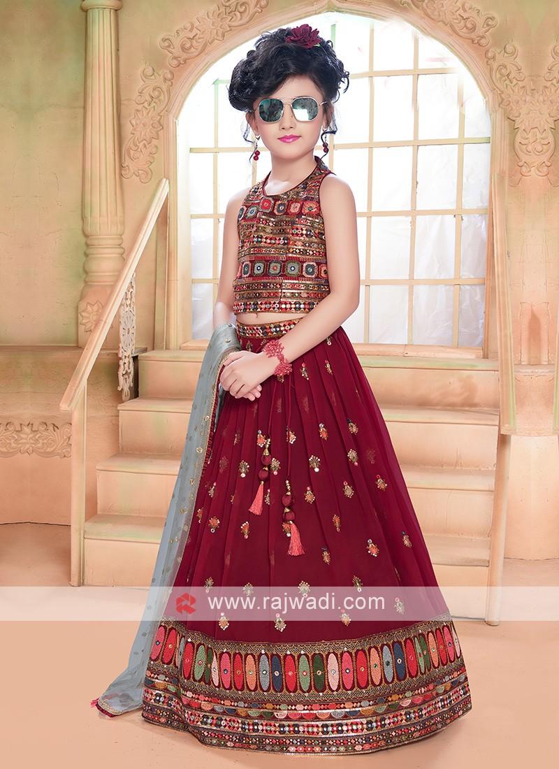 Girls Maroon Choli Suit
