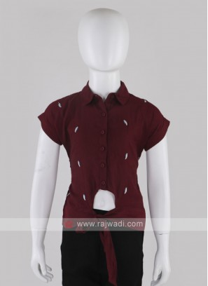 Girls Maroon Shirt Style Top