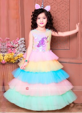 Girls Multi Color Gown