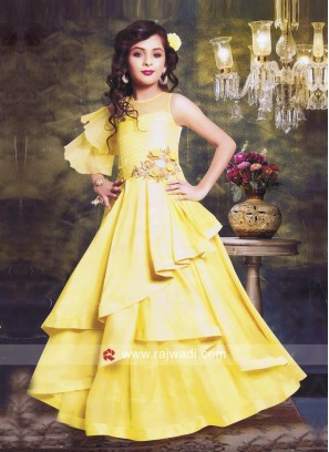 Girls Multi Layered Gown in Yellow