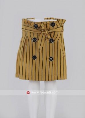 Girls Mustard Yellow Short Skirt