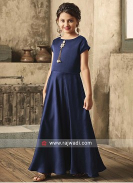 Girls Navy Blue Floor Length Gown