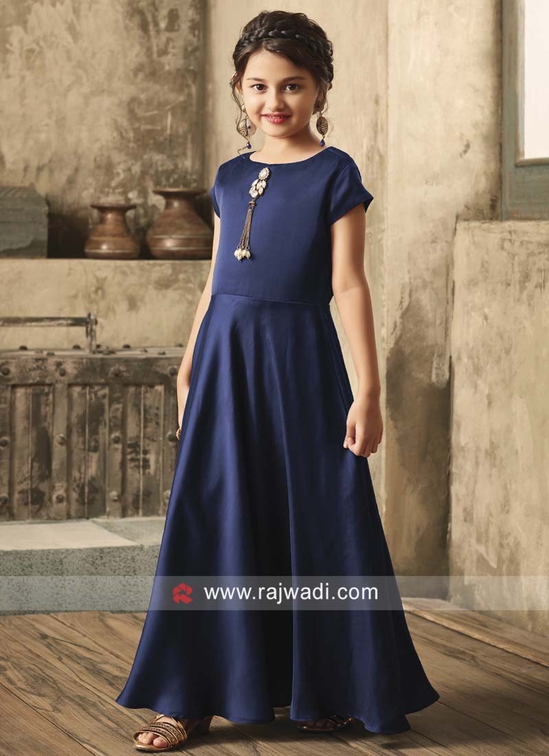 Girls Navy Blue Floor Length Gown