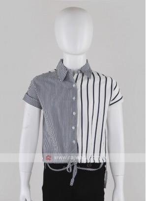 Girls Navy Blue & White Stripes Top