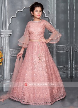 Girls Net Choli Suit In Peach Color