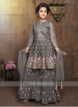 Girls Net Gharara Suit In Grey