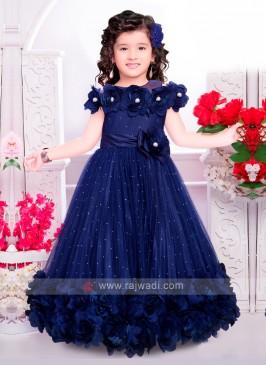 Girls Net Gown In Blue