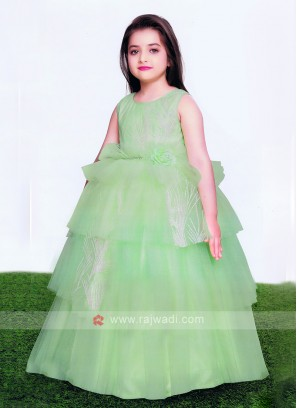 Girls Net Gown In Pista Green