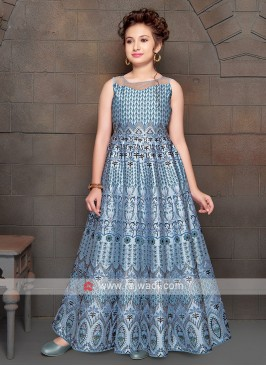 Girls Party Wear Blue Gown