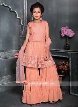 Girls Peach Color Gharara Suit