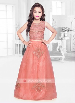 Girls Peach Lehenga Choli