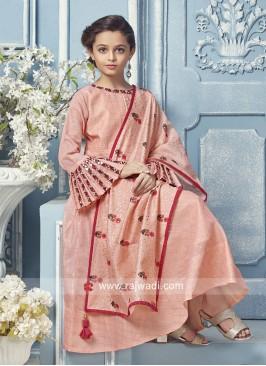 Girls Peach Printed Anarkali Salwar Kameez