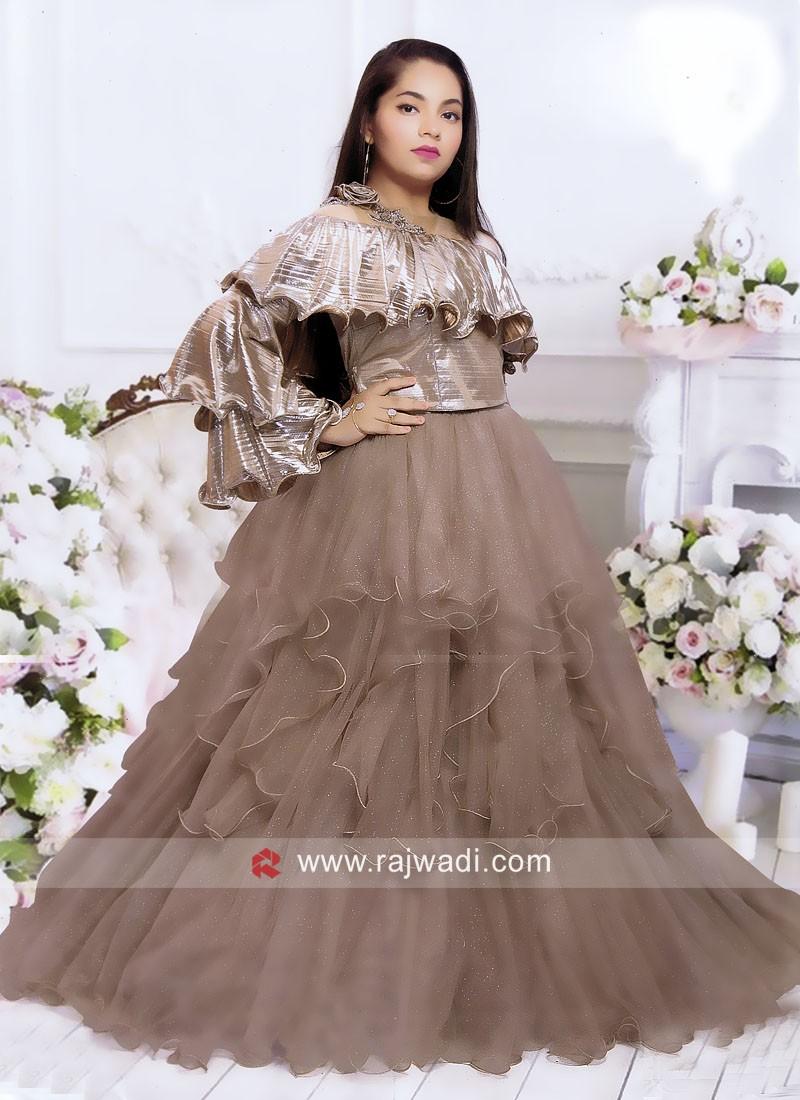 Girls Pearl Work Wedding Choli Suit