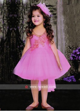Girls Pink Flower Work Frock