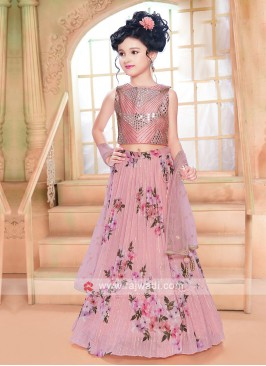 Girls Pink Lehenga Choli