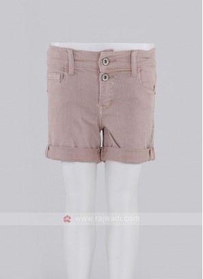 Girls Pink Solid Regular Fit Denim Shorts