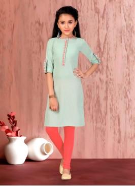 Girls Pista Green Cotton Salwar Kameez