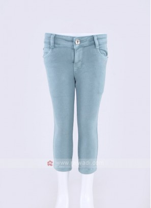 Girls Powder Blue Solid Denim Capris