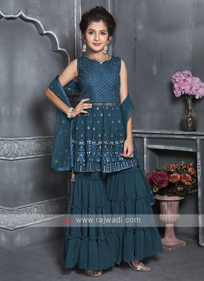 Girls Rama Blue Gharara Suit