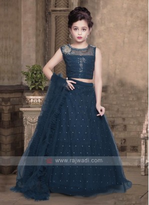 Girls rama blue color lehenga choli