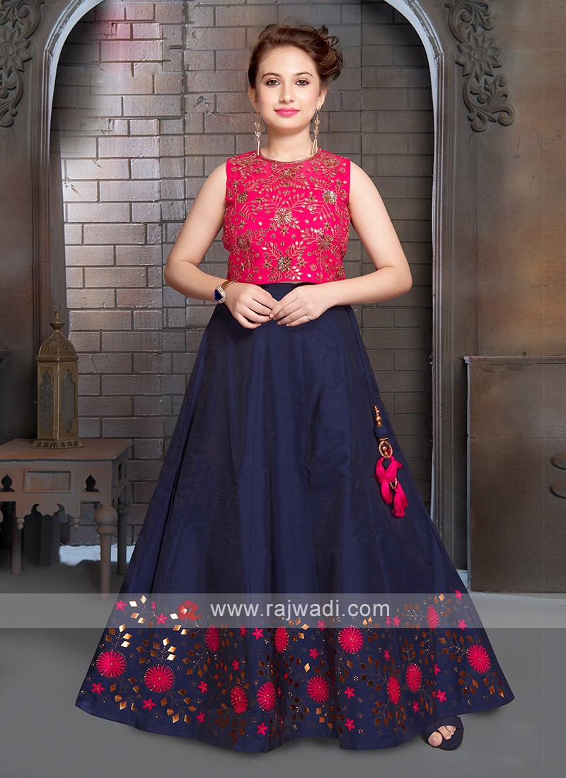 Girls Rani And Navy Blue Choli Suit