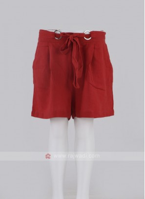 Girls Red Color Cotton Shorts
