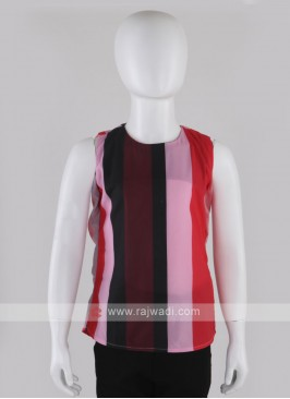 Girls Red & Multi Coloured Top