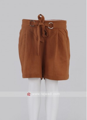 Girls Rust Color Cotton Shorts